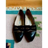 another view of 80's Black Leather Suede Flats by Tokyo Kumagai Paris