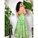 another view of 60's/70's Green Floral Print Wrap Maxi Skirt by The Spanish Main