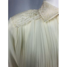 80's Off-white Sheer Pleated Blouse