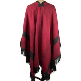 Red and Black Wool Poncho