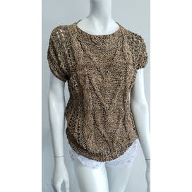 Tan Leather Crochet Cable Knit Blouse