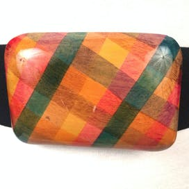80's Black Belt With Multicolor Wooden Buckle