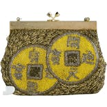 Asian Motif Gold and Yellow Beaded Purse