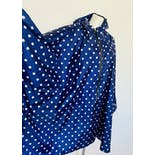 another view of 90's Navy and White Polka Dot Hooded Zip Up Poncho