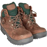 90's Men's Brown and Green Leather Waterproof Hiking Boots by Hi-Tec