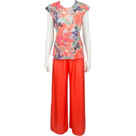 60's Orange Floral Pajama Two Piece Set by Shadowline
