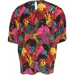 another view of Short Sleeve Bright Floral Painterly Print Silk Blouse