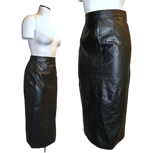 80's Black Leather Midi Pencil Skirt by GIII Leather Designs