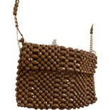 70's Brown Beaded Shoulder Bag