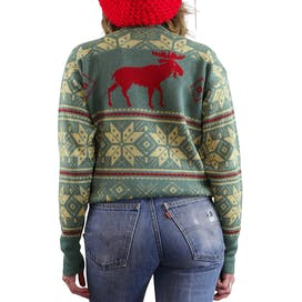 50's Green and Red Wool Crewneck Sweater
