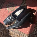 another view of Gianni Versace Heeled Loafers with Silver Hardware by Gianni Versace
