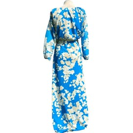 60's/70's Blue and White Floral Crop Top and Maxi Skirt Set