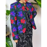 another view of 80's Bright Floral Print Button Up Jacket with Embroidery by Carlisle