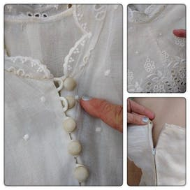 50's White Organza Eyelet Detail Ruffle Skirt Dress and Button Up Jacket