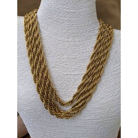 70's Thick Gold Chain Three Strand Necklace