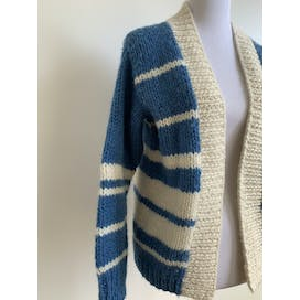 Blue and Cream Chunky Hand Knit Cardigan