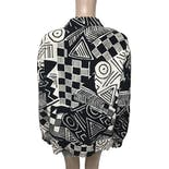 another view of 90's Black And White Abstract Print Silk Bomber Jacket byPeter Nygard for Saks Fifth Avenue