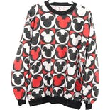 80's/90's Black Red and White Mickey Mouse Graphic Men's Crewneck Sweatshirt by Mickey & Co