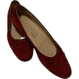 Red Suede Quilted Flats by Salvatore Ferragamo