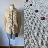 another view of Cream Fisherman Cardigan