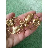 another view of 40's Brass Floral Art Nouveau Buckle with Bow