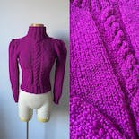 another view of Magenta Purple Puff Sleeve Turtleneck