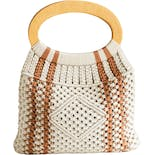 70's Beige Crochet with Wood Handle Tote Bag