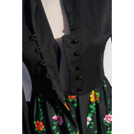 70's Black Half Button Up with Multicolor Floral Dress