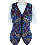 90's Blue And Gold Sequined Vest