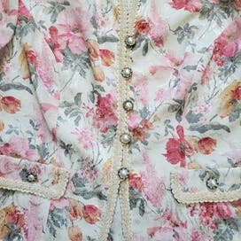 80's White Orange and Pink Floral Brocade Blazer by Leslie Fay