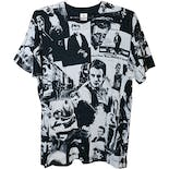 90's Black and White James Dean All Over Print Men's T-Shirt by Fruit of the Loom