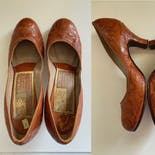 another view of 40's Tooled Leather Western Pumps