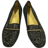 another view of Gold and Black Leather Loafers