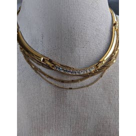 70's Gold Rhinestone Bar Link Necklace