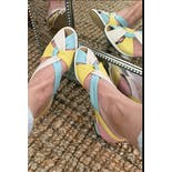another view of 60's Crisscross Pastel Colored Block Heel Sandals