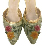 another view of 50's Gold Beaded Sequined Wedge Mules