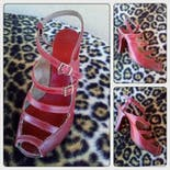 another view of 50's Red Leather Multi Strap Peep Toe Heels by Bare Intrigue