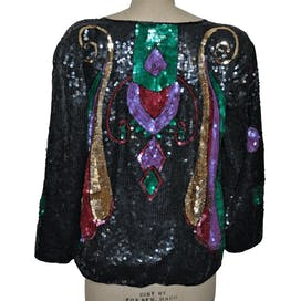 80's/90's Colorful Sequin Silk Jacket