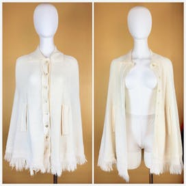 70's Ivory Sweater Cape by Sweet Tree