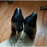 another view of 90's Black Crocodile Leather Metal Spike Pumps by Charles Jourdan Paris