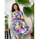 another view of 80's Square Neck Watercolor Floral Pleated Midi Dress by Willi of California