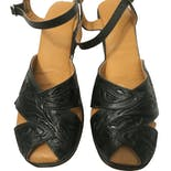 another view of 50's Dark Green Leather Floral Detailed Sandals