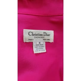 80's Hot Pink Silk Button Up by Christian Dior