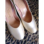 another view of 50's Satin Champagne Round Toe Heels by Walk-Over Juniors