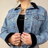 another view of 90's Classic Denim Jacket with Velvet Collar and Cuffs by Lee