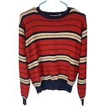 80's Red and Navy Striped Sweater by Country Suburban