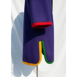 80's Purple Wool and Multicolor Trim Coat by Bill Blass