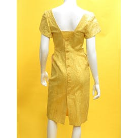 60's Italian Butter Yellow Floral Cotton Dress