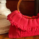 another view of 60's Cherry Red Tortoise Woven Handbag