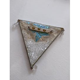 80's White Beaded Triangle Brooch with Blue Floral
